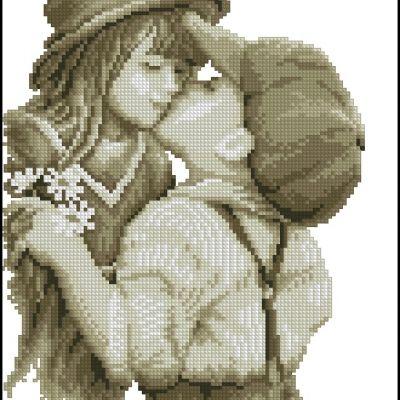 Вышивки крестом девочка и мальчик целуются